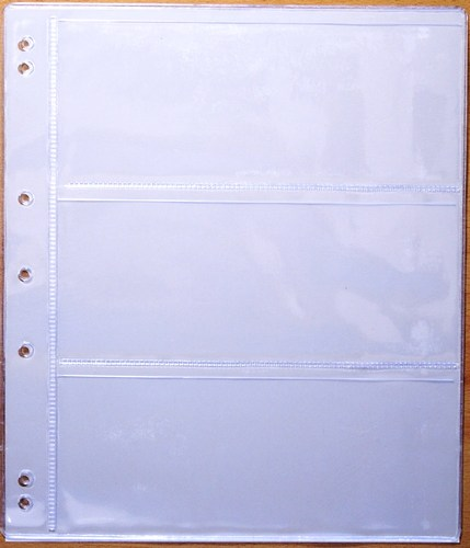 Renniks RBNR3 banknote album refill pages, 3 pocket (pack 10)