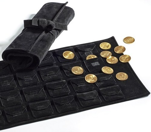 Velvet coin roll to suit coins or capsules, 24 pockets