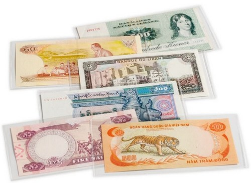 Basic Banknote Sleeves, suit notes up to 204 x 123mm, (pk 50)