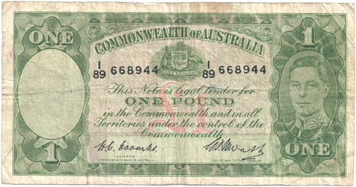 One pound Coombs Watt Australian Banknote, 'gVG'