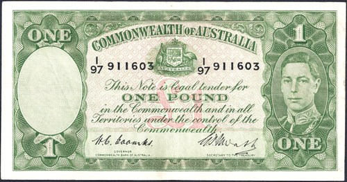 One pound Coombs Watt Australian Banknote, 'about Very Fine'