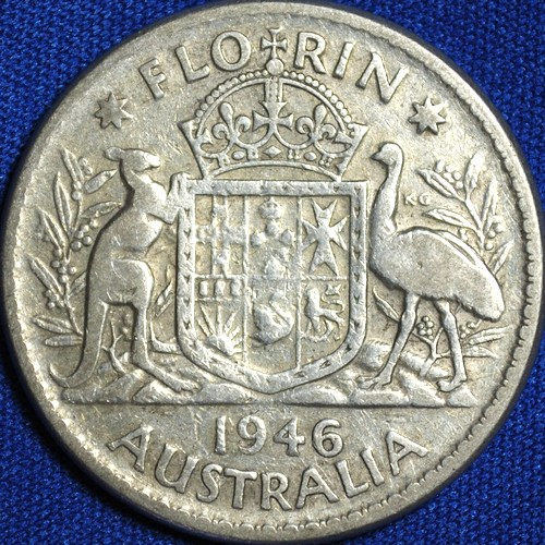 1946 Australian Florin, 'average circulated'