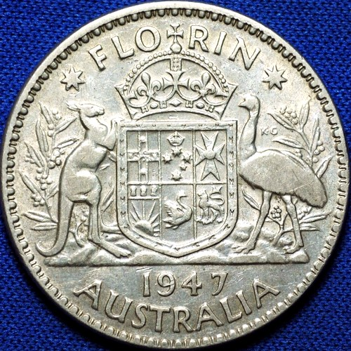 1947 Australian Florin, 'average circulated'