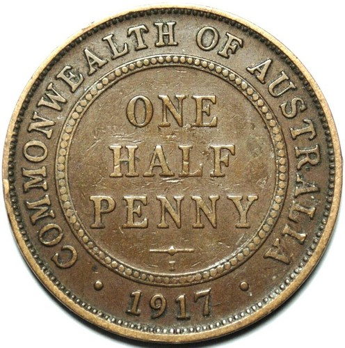 1917 Australian Halfpenny, 'average circulated'