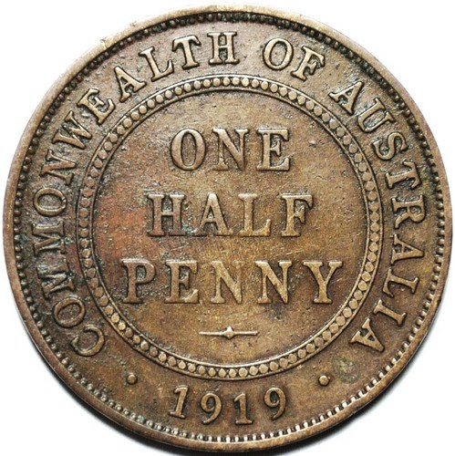 1919 Australian Halfpenny, 'average circulated'