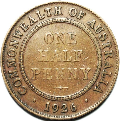 1926 Australian Halfpenny, 'average circulated'