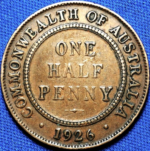 1926 Australian Halfpenny, 'about Very Fine', errors, detractors