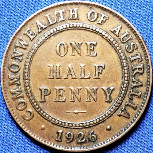 1926 Australian Halfpenny, 'good Very Fine', dot error
