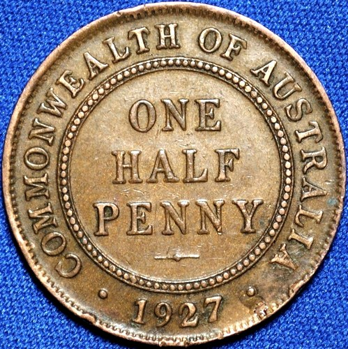 1927 Australian Halfpenny, 'about Extremely Fine'