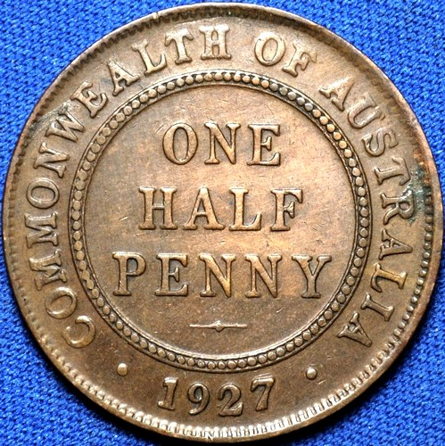 1927 Australian Halfpenny, 'good Very Fine'