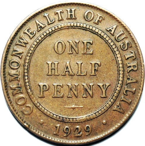 1929 Australian Halfpenny, 'average circulated'