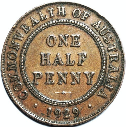 1929 Australian Halfpenny, 'good Very Fine', detractors