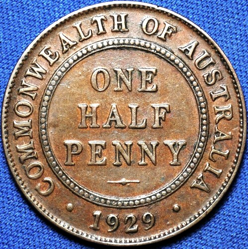 1929 Australian Halfpenny, 'good Very Fine'