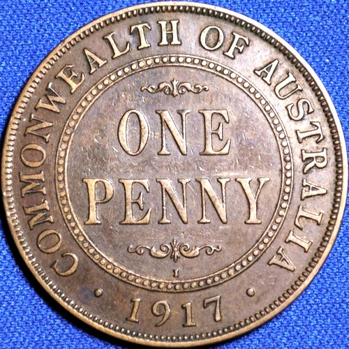 King George V era Australian penny coins on sale, 1916 to 1920