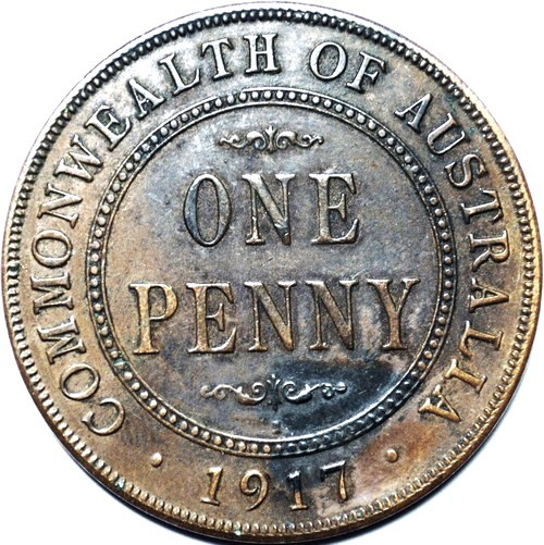 1917 Australian Penny, 'Extremely Fine', detractors