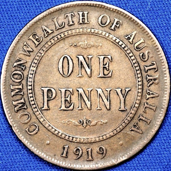 1919 Australian Penny, (dot below), 'Fine'