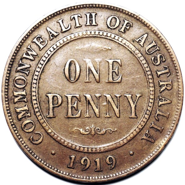 1919 Australian Penny, (dot below), 'about Fine'