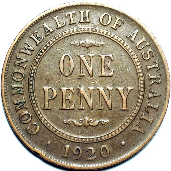 1920 Australian Penny, (dot below, Indian), 'Fine'