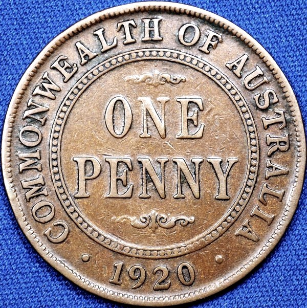 1920 Australian Penny, (double dot), 'about Fine'