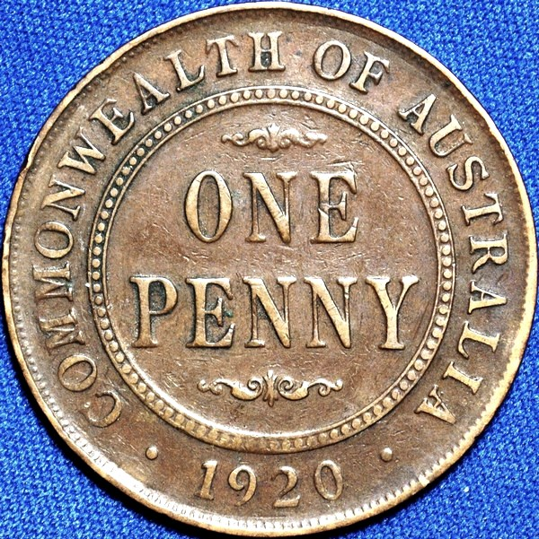 1920 Australian Penny, (no dots, Indian), 'about Fine'