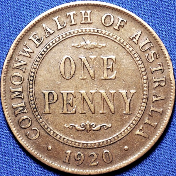 1920 Australian Penny, (no dots, Indian), 'Fine'