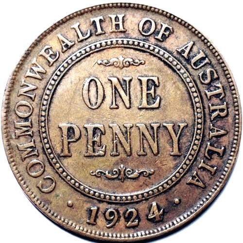 1924 Australian Penny, 'about Very Fine'