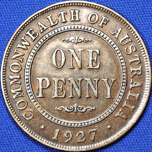1927 Australian Penny, 'about Very Fine', cleaned