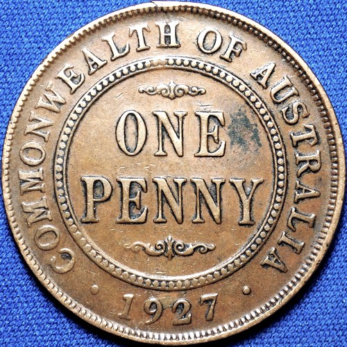 1927 Australian Penny, 'about Very Fine'