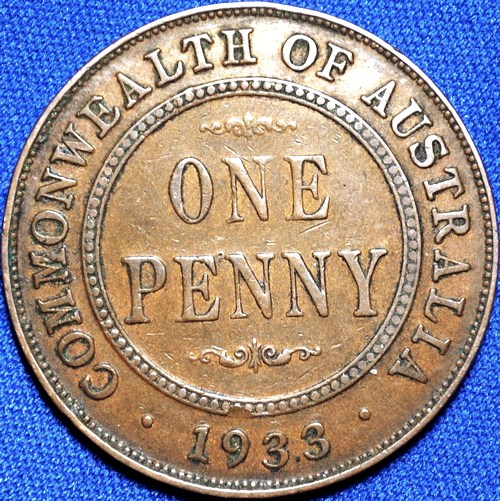 1933 Australian Penny, 'about Very Fine'