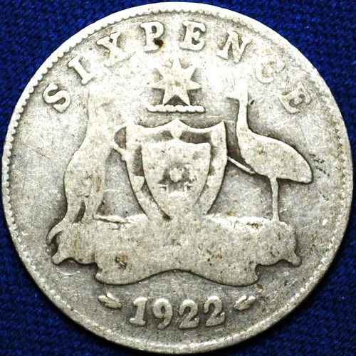 1922 Australian Sixpence, 'about Very Good'