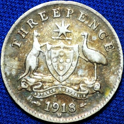 1918 Australian Threepence, 'about Fine / good Fine', toned