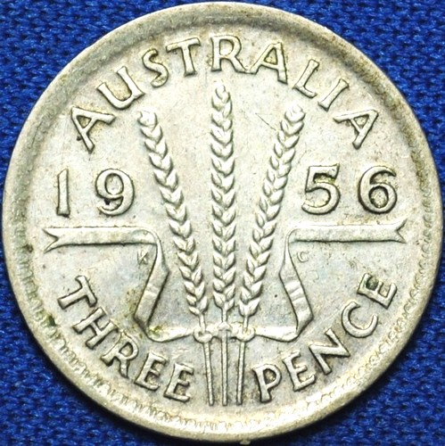 1956 Australian Threepence, 'average circulated'